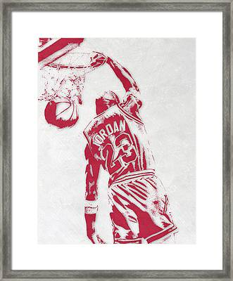 Michael Jordan Chicago Bulls Pixel Art 1 Framed Print by Joe Hamilton