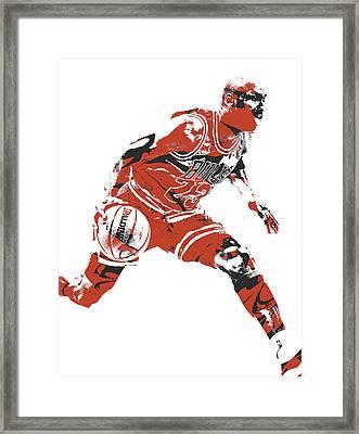 Michael Jordan Chicago Bulls Pixel Art 10 Framed Print