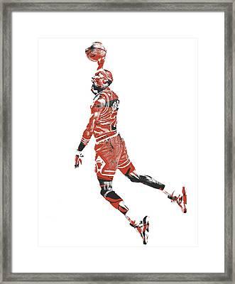 Michael Jordan Chicago Bulls Pixel Art 11 Framed Print