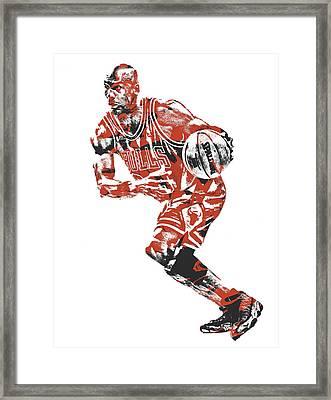 Michael Jordan Chicago Bulls Pixel Art 12 Framed Print