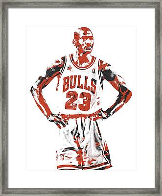 Michael Jordan Chicago Bulls Pixel Art 13 Framed Print