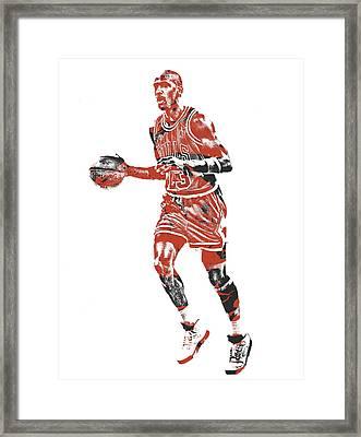 Michael Jordan Chicago Bulls Pixel Art 14 Framed Print