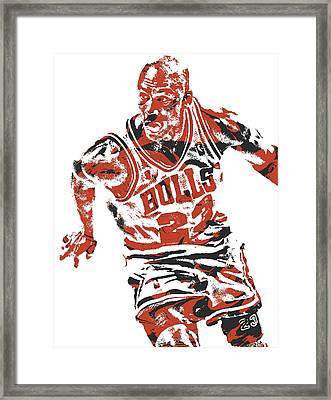Michael Jordan Chicago Bulls Pixel Art 15 Framed Print