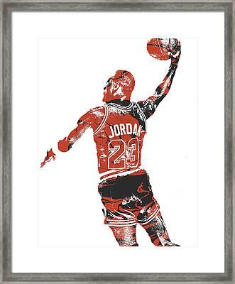 Michael Jordan Chicago Bulls Pixel Art 16 Framed Print