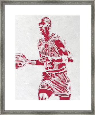 Michael Jordan Chicago Bulls Pixel Art 2 Framed Print by Joe Hamilton