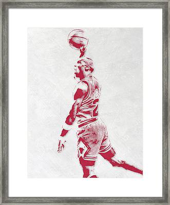 Michael Jordan Chicago Bulls Pixel Art 3 Framed Print