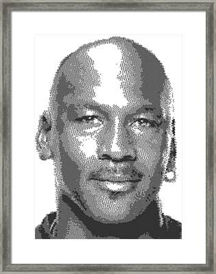 Michael Jordan - Cross Hatching Framed Print by Samuel Majcen