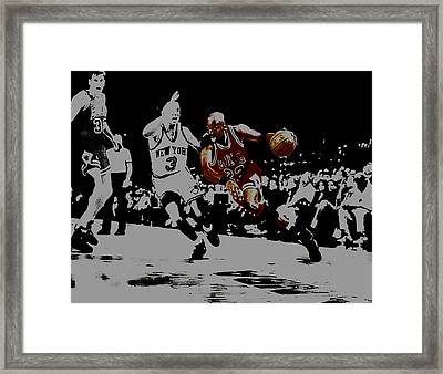 Michael Jordan Drive To The Basket Framed Print by Brian Reaves