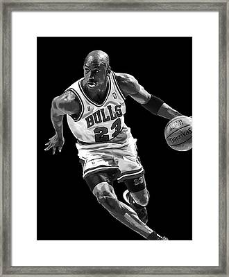 Michael Jordan Drives To The Basket Framed Print by Daniel Hagerman