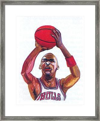 Framed Print featuring the painting Michael Jordan by Emmanuel Baliyanga