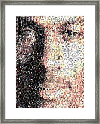 Michael Jordan Face Mosaic Framed Print by Paul Van Scott
