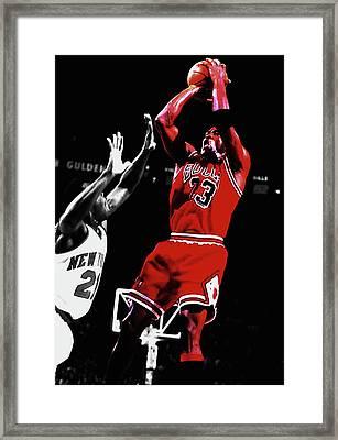 Michael Jordan Fade Away 1a Framed Print by Brian Reaves