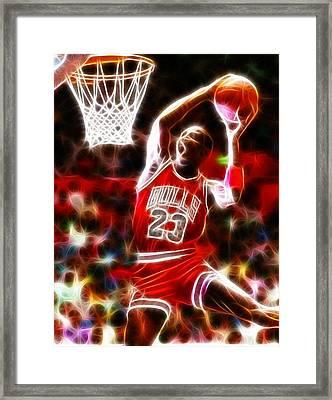 Michael Jordan Magical Dunk Framed Print by Paul Van Scott