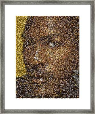 Framed Print featuring the digital art Michael Jordan Money Mosaic by Paul Van Scott