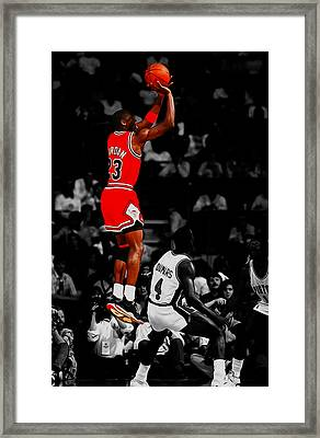 Michael Jordan Rises 1b Framed Print by Brian Reaves