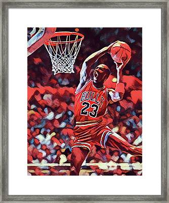 Framed Print featuring the painting Michael Jordan Slam Dunk by Dan Sproul
