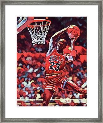 Michael Jordan Slam Dunk Framed Print