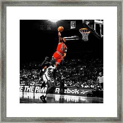 Michael Jordan Suspended In Air Framed Print by Brian Reaves