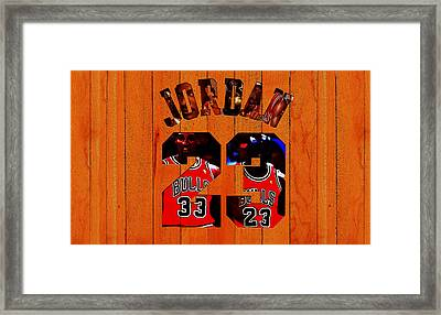 Michael Jordan Wood Art 1b Framed Print