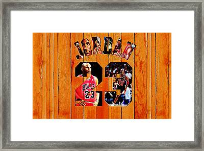 Michael Jordan Wood Art 1h Framed Print