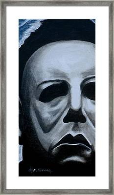 Framed Print featuring the painting Michael Myers Up Close And Personal by Al  Molina