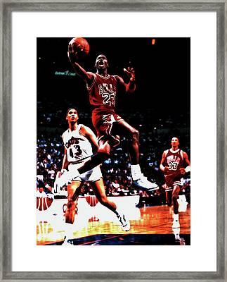 Michael Over Brad Daugherty Framed Print by Brian Reaves