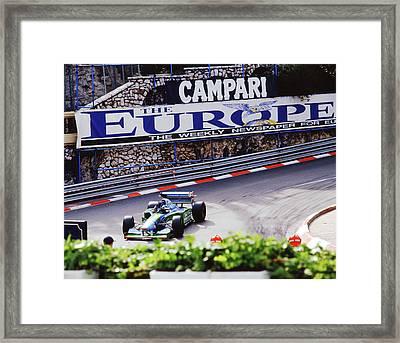 Michael Schumacher After Winning 1994 Monaco Gp Framed Print by John Bowers