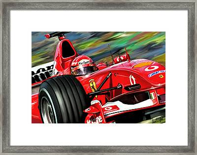 Michael Schumacher Ferrari Framed Print by David Kyte