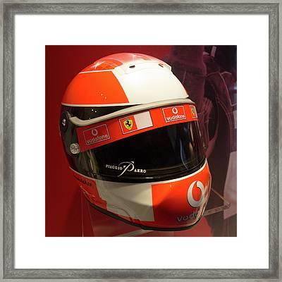 Michael Schumacher Helmet Museo Ferrari Framed Print by Paul Fearn