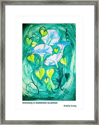 Micheal's Morning Glories Framed Print by Cathy Long