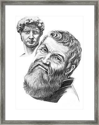 Michelangelo And David Framed Print by Murphy Elliott