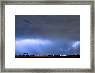 Framed Print featuring the photograph Michelangelo Lightning Strikes Oil by James BO Insogna