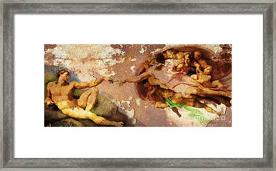 Michelangelo The Creation Of Adam In Rust 20150622 Framed Print by Wingsdomain Art and Photography