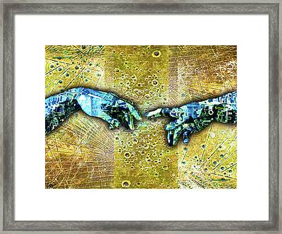Framed Print featuring the mixed media Michelangelo's Creation Of Man by Tony Rubino