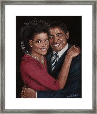 Michelle And Barack Framed Print by Diane Bombshelter