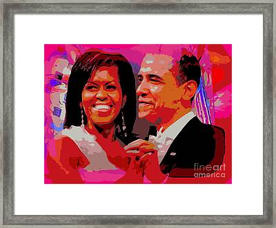 Michelle And Barack Framed Print by Ed Weidman