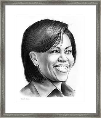 Michelle Obama Framed Print by Greg Joens