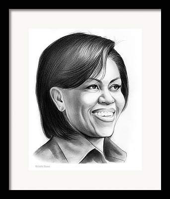 Michelle Obama Drawings Framed Prints
