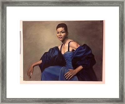 Michelle Obama, Oil On Canvas, Blue Dress Framed Print