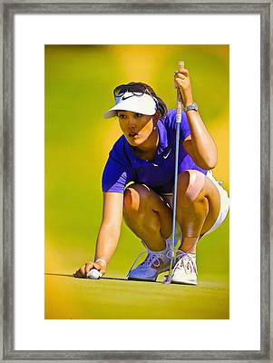 Michelle Wie Lines Up Her Putt  Framed Print