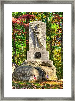 Michigan At Gettysburg - 5th Michigan Volunteer Infantry - In The Rose Woods Near The Wheatfield Framed Print by Michael Mazaika