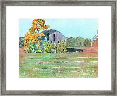 Framed Print featuring the painting Michigan Autumn Barn by LeAnne Sowa