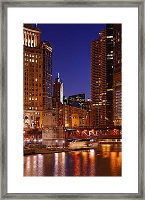 Michigan Avenue Bridge Reflections Framed Print by Donald Schwartz