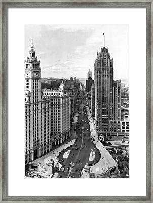 Michigan Avenue In Chicago Framed Print by Underwood Archives