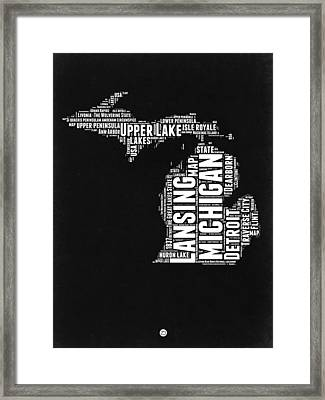 Michigan Black And White Word Cloud Map Framed Print
