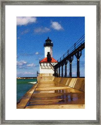 Framed Print featuring the photograph Michigan City Light 1 by Sandy MacGowan