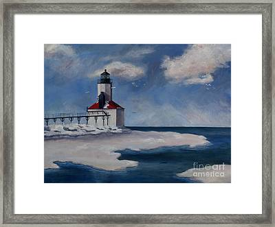 Framed Print featuring the painting Michigan City Light by Brenda Thour