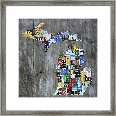 Michigan Counties Patchwork License Plate Art Recycled Vintage Map 2017 Edition  Framed Print by Design Turnpike
