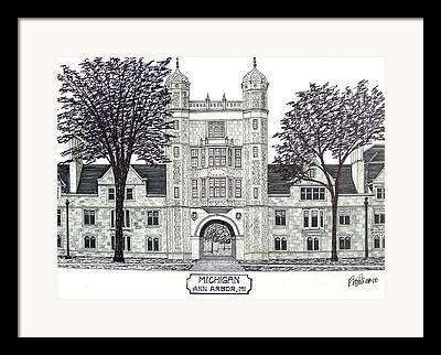 University Of Michigan Law School Drawing Framed Prints