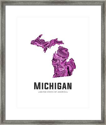 Michigan Map Art Abstract In Purple Framed Print